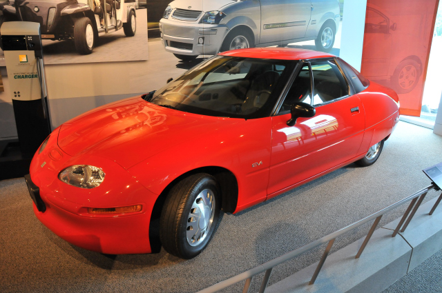 1996 General Motors EV1 electric car, on loan from the Henry Ford Museum. 1,000 EV1s were made from 1996 to 1999.