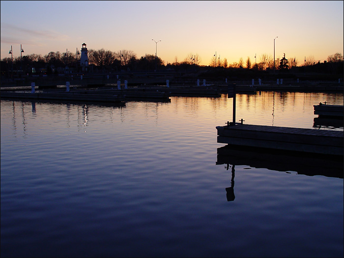 Harbour at sunset