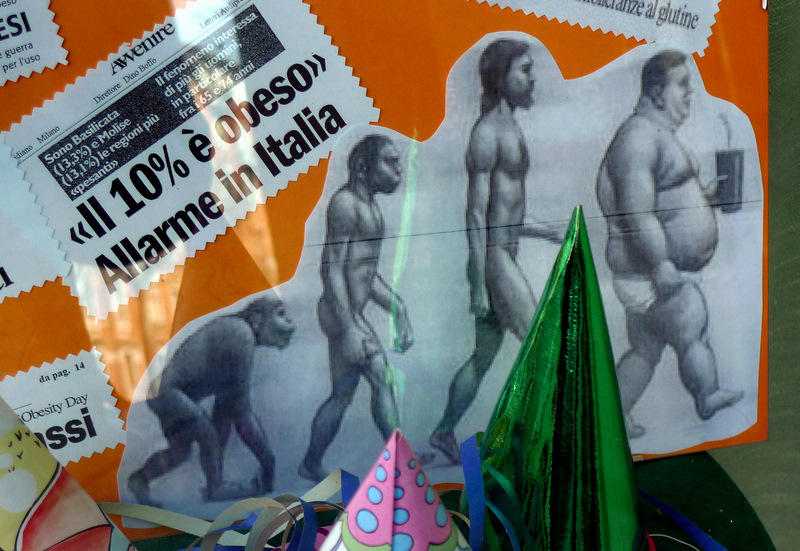 From Monkeys to Obese Men - Juxtaposition of bodies