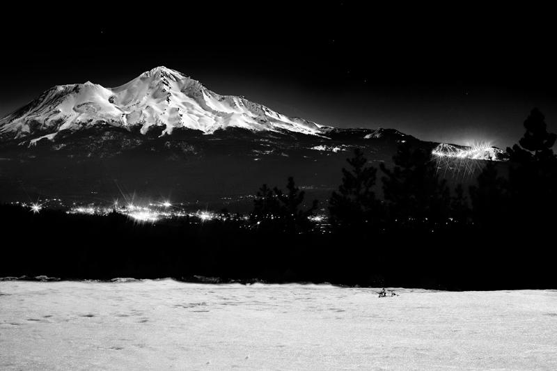 Mount Shasta and Night Skiing in B&W
