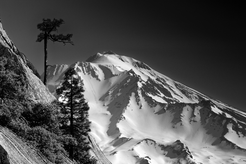Shasta Viewed from the Crags - Morning in Black and White