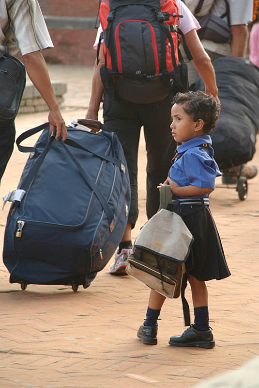 Child Watching Tourists Durbar Square Bhaktapur