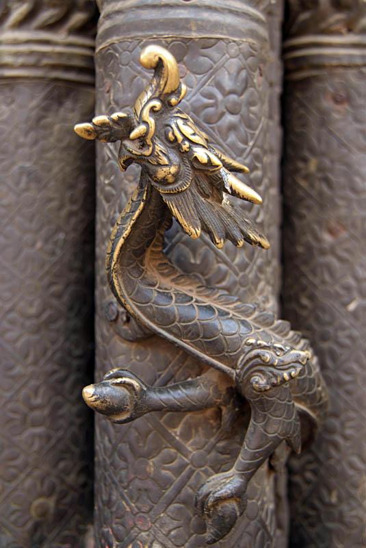 Dragon Detail on Temple Door Bhaktapur