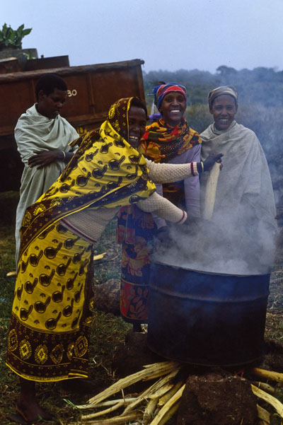Cooking ugali for the party, Slahamo village, Tanzania