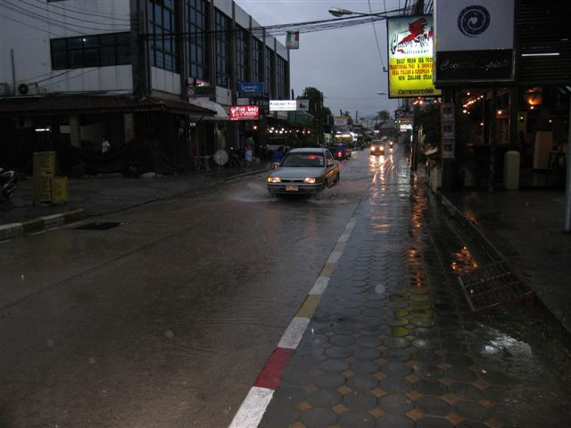 flooded streets and raining hard