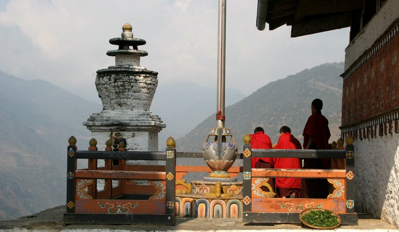 enjoying the view-Trongsa Dzong