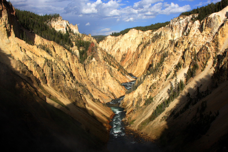 Canyon and river view from Artist Point  - Yellowstone National Park