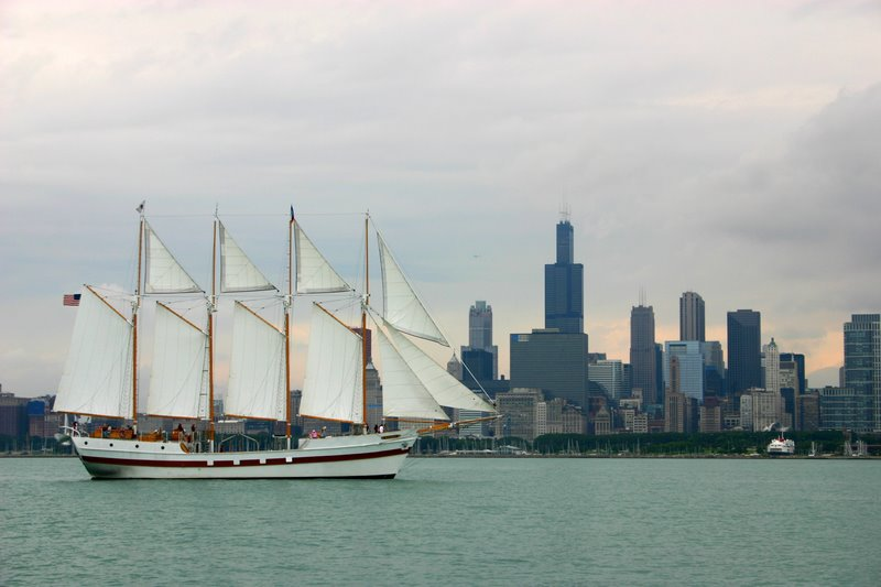 Tall Ship, Lake Michigan, Chicago skyline