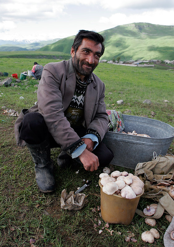 Armenian man with mushroom