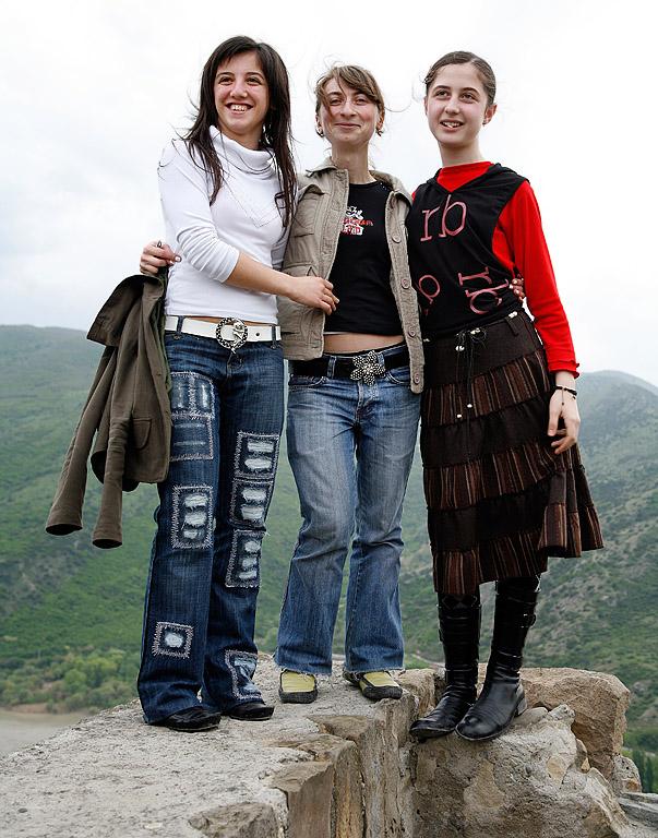 Girls posing outside Dzvan church