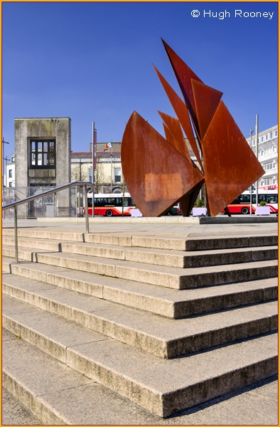 Ireland - Galway City - Eyre Square with sculpture