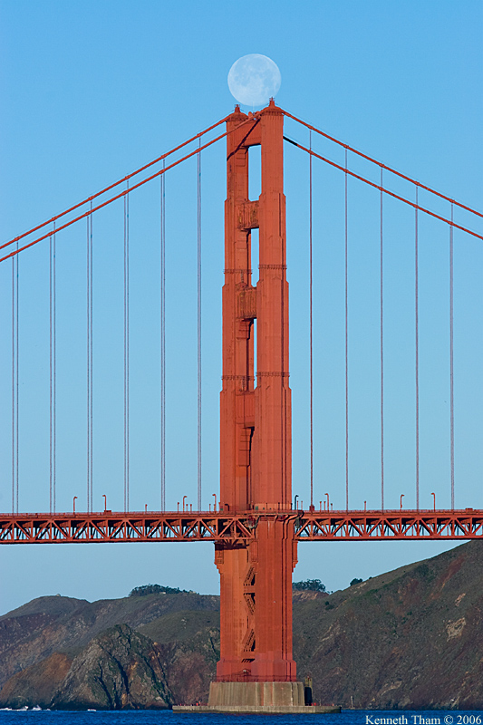 Moonset over the Golden Gate