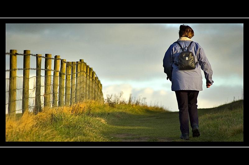 Carole heads for home, West Bay, Dorset
