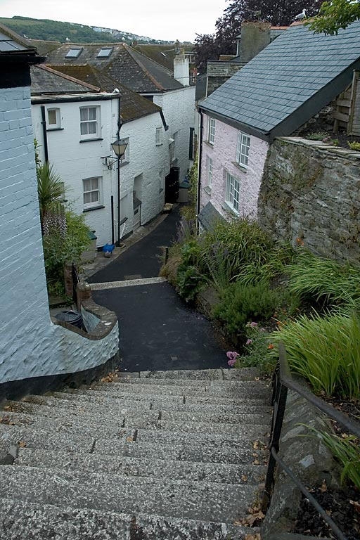 Street and steps, Fowey, Cornwall