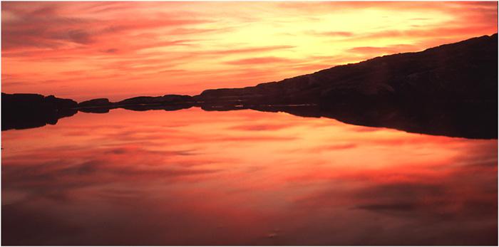 Reflection of a fiery sunset