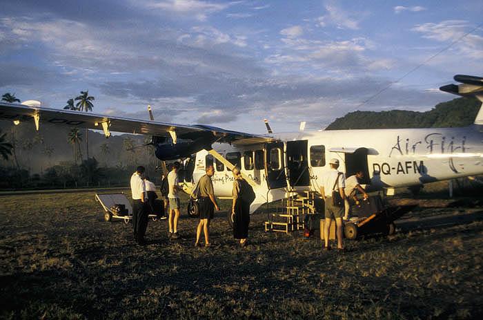Air Fiji flight arrives at the Ovalau airstrip