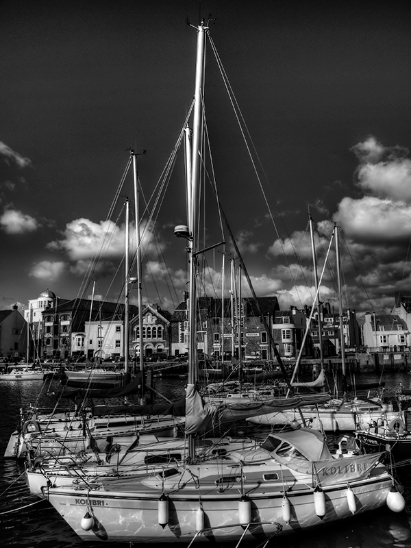 Boats at Weymouth Harbour in Black and White