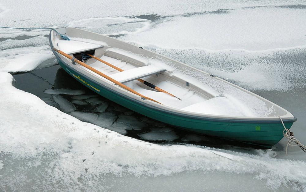 Green Boat in Ice
