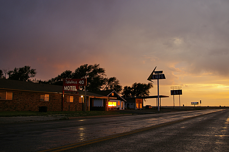 Rainy night at Fabulous 40 Motel on Route 66, Adrian, Texas, next to the Midway Café