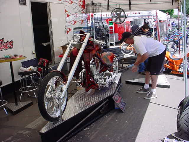 working on the bike