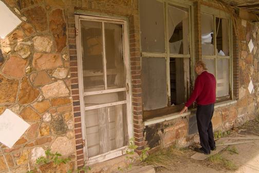 Dad Looking in Window of Old Gas Station Lehigh OK.jpg