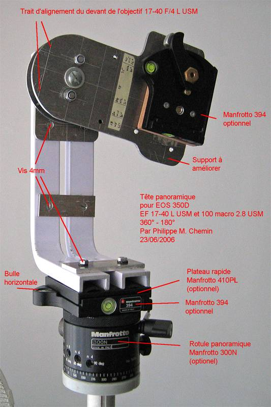 360° Panoramic head - Camera orientation portrait - Version June 2006