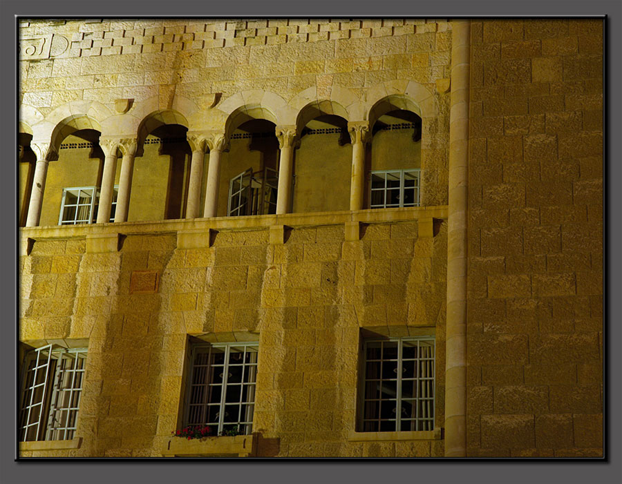 Y.M.C.A. building Jerusalem, at night (detail).