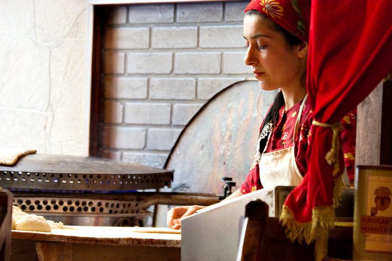 Woman preparing traditional Turkish food
