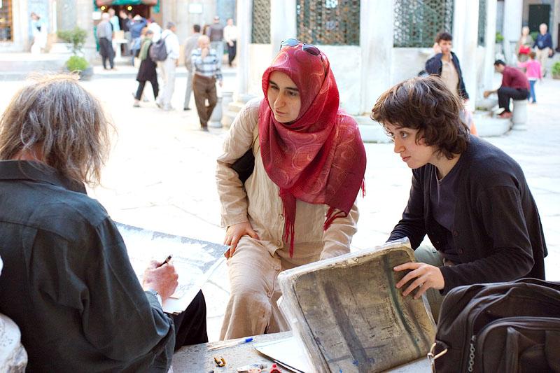 Artist with women