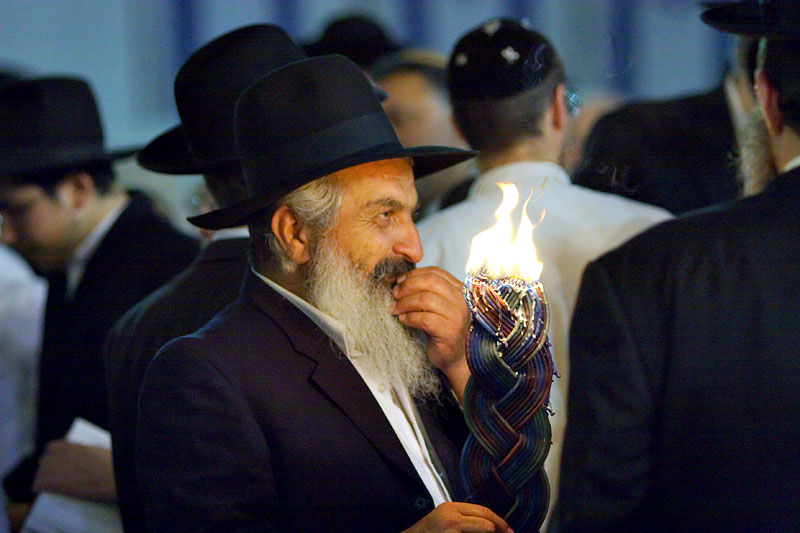 Orthodox Jew with candle