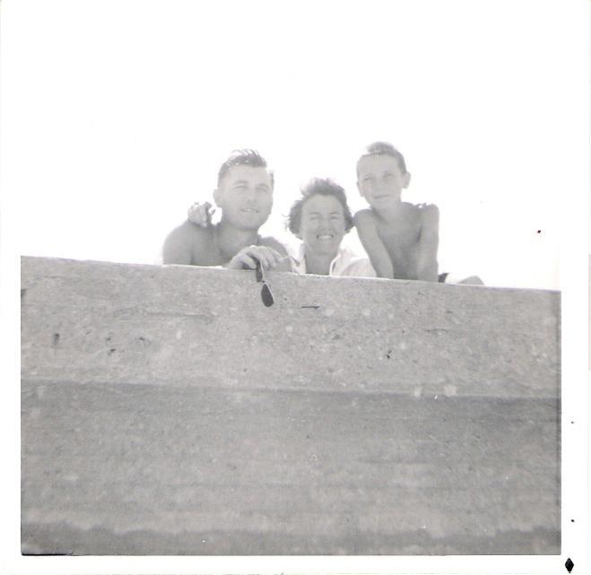 Over the Seawall - 1961 - Joe, Ginny and Steve