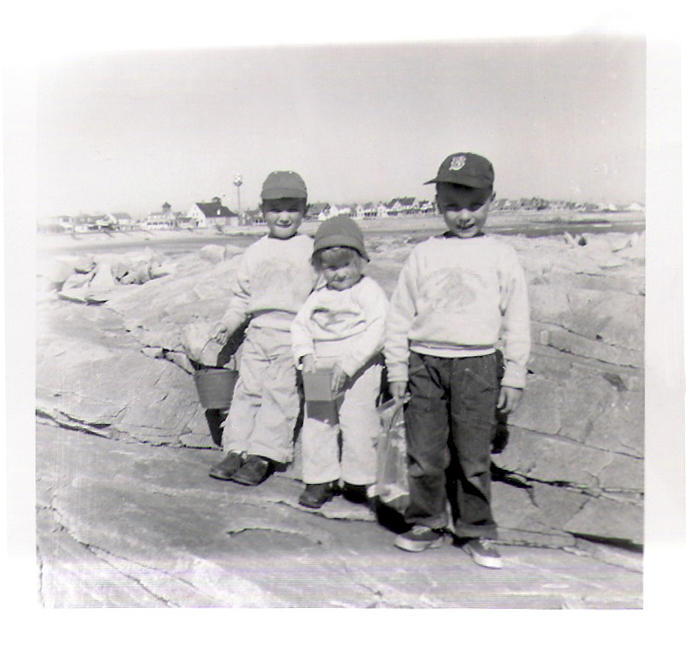 Kids on Rock with Lifesaving Station and Tower - 1956