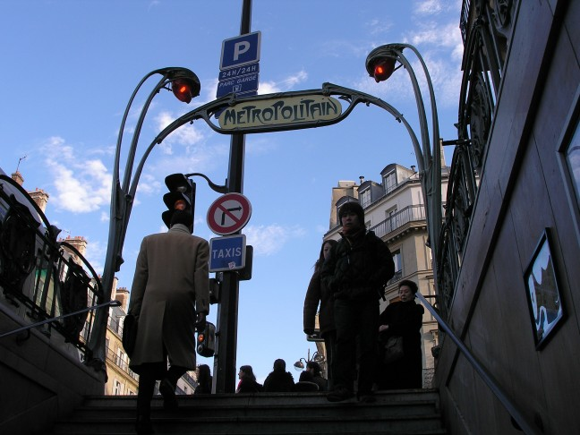 Coming up out the Louvre-Rivoli Metro