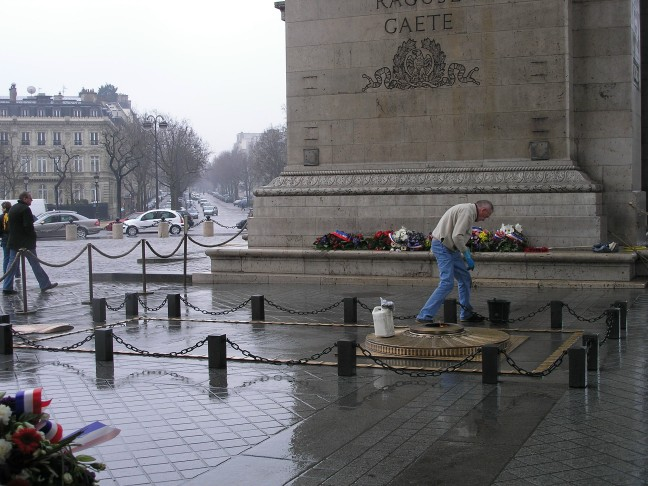 Cleaning the brass of The Unknown Soldier