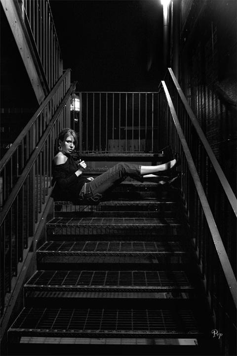 Aug. 14, 2006 - Jess on the fire escape