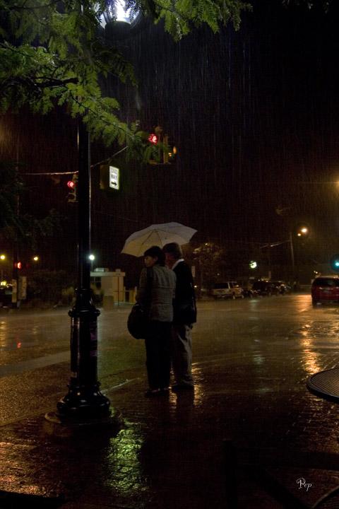 Rainy night in downtown Ann Arbor