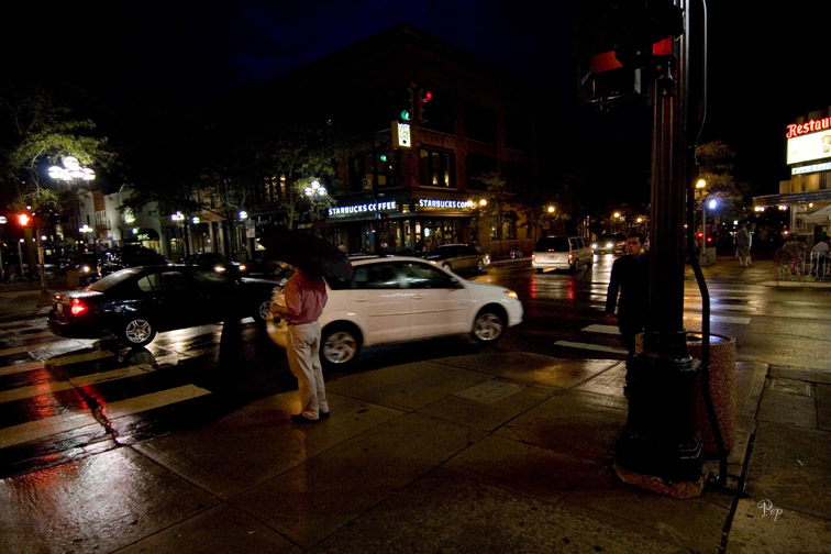 Rainy night in downtown Ann Arbor