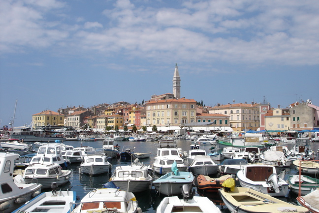 Rovinj harbour and old town