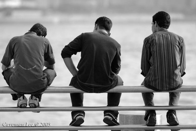 A gang of three (B&W)