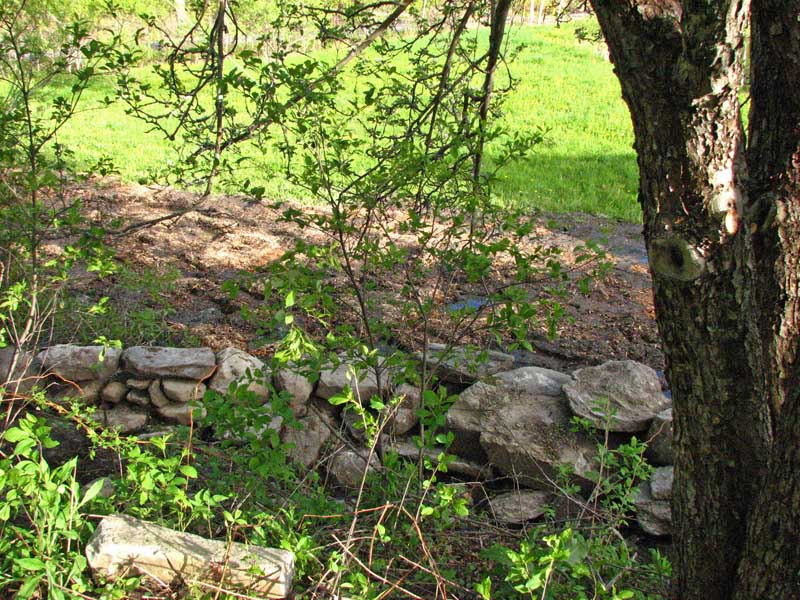 Stonework by the apple tree
