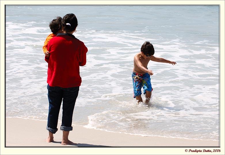 Kunal enjoying the ocean