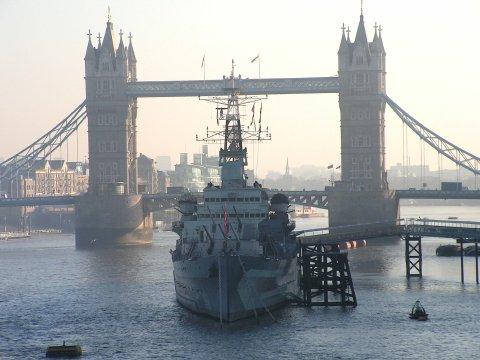 HMS Belfast at her moorings,with Tower Bridge,behind.