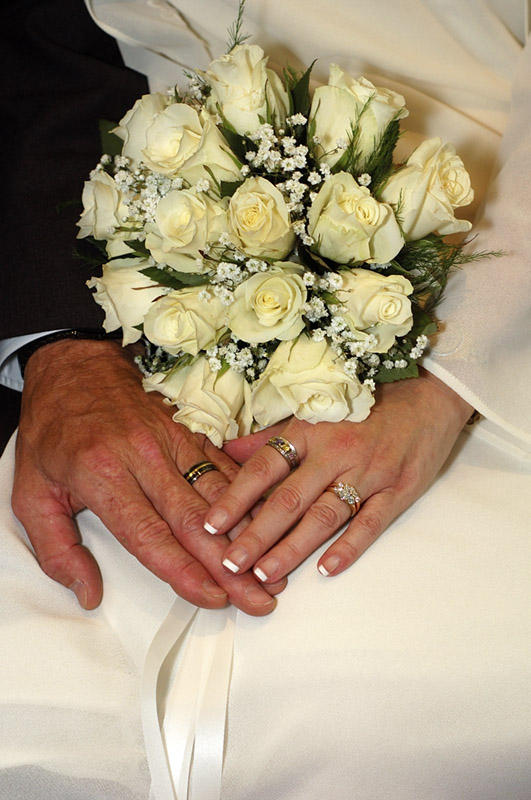 Bridal Bouquet - Bride and Grooms Rings