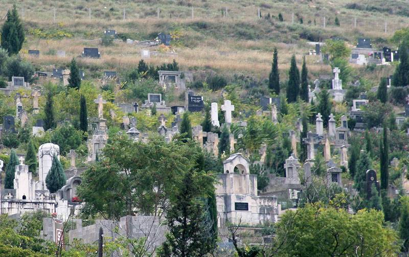 Bosnia,Mostar,old graveyard on the slope