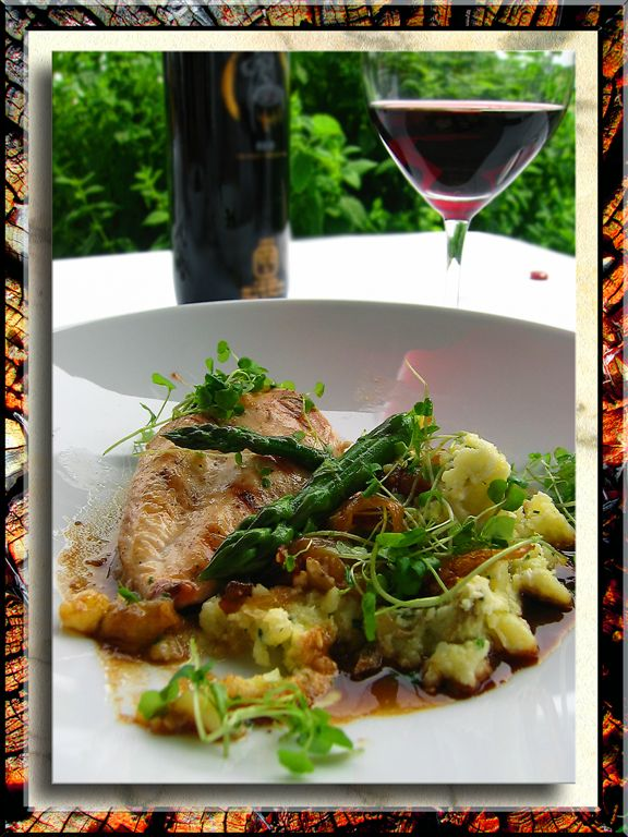 Wild Hen With Feta Cheese And Grilled Asparagus