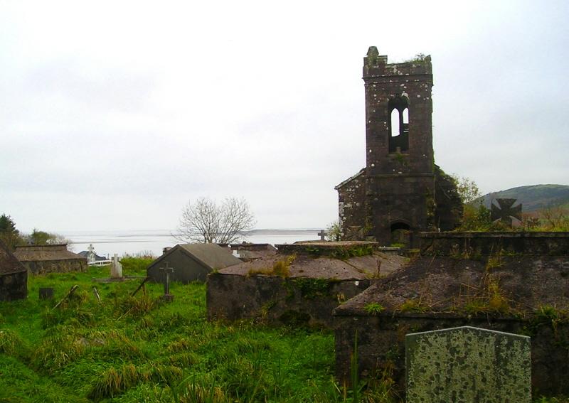 An overgrown graveyard in Cloghane