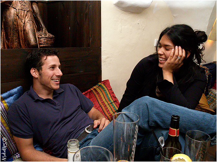 Friday at a pub in Ein-Karem (Jerusalem), Amit and Daniel