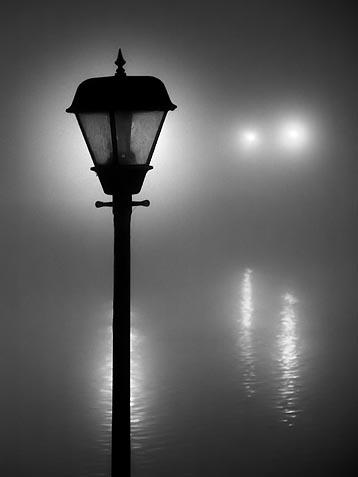 Canal Lights On A Foggy Night 01720-2BW
