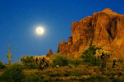 Superstition Mountain Moonrise