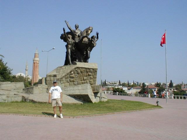 Ataturk statue and a NYC tourist